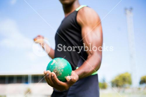 Athlete holding hammer throw