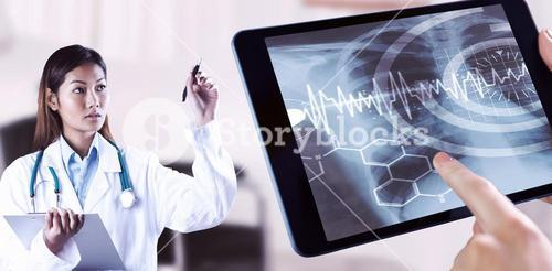 Composite image of asian doctor pointing with pen
