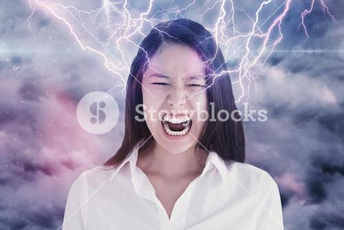 Composite image of screaming woman