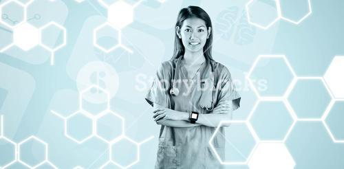 Composite image of asian nurse with arms crossed