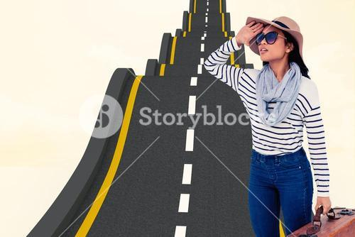 Composite image of asian woman with luggage looking away