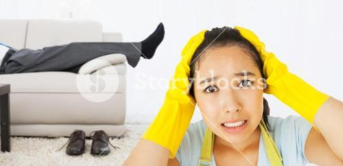 Composite image of stressed out woman