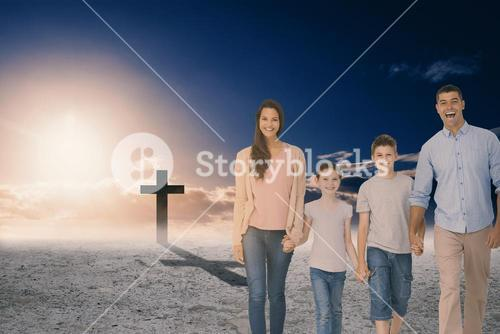 Composite image of portrait of happy family walking over white background