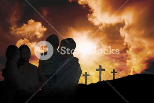 Composite image of mother and father carrying children over white background