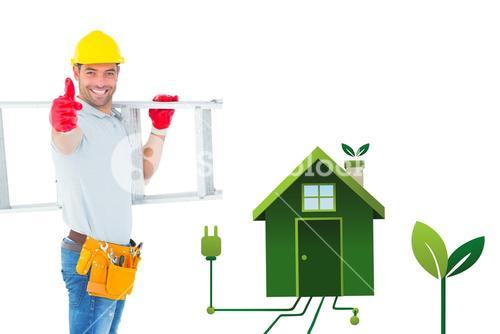 Composite image of smiling handyman carrying ladder while gesturing thumbs up
