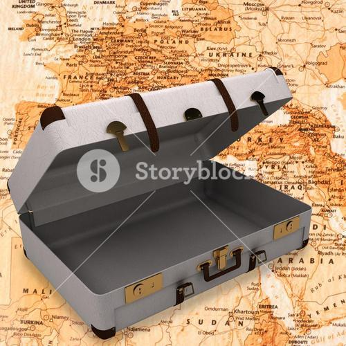Composite image of open suitcase