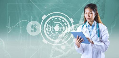 Composite image of asian doctor using tablet