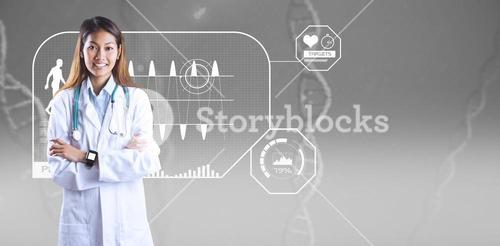 Composite image of asian doctor with smart watch crossing arms