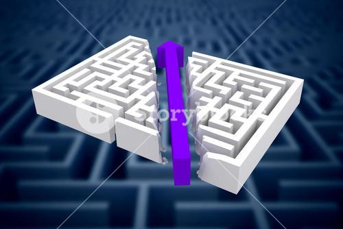 Composite image of arrow through maze