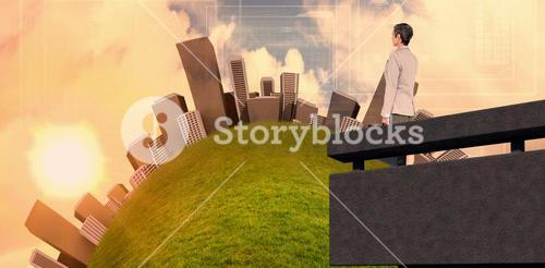 Composite image of city on a hill