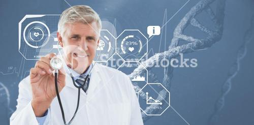 Happy doctor smiling at camera and showing his stethoscope