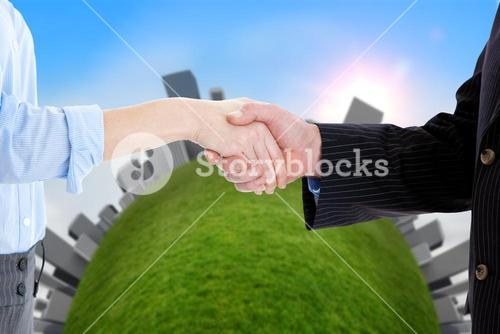 Close up of a business people closing a deal