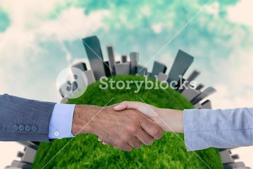 Business people shaking hands on white background