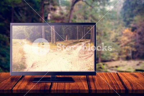 Composite image of flat screen television