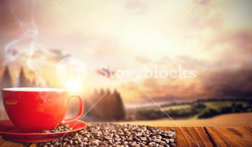 Composite image of orange mug and coffee beans