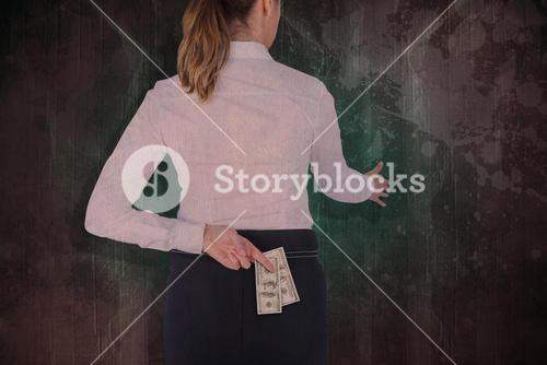 Composite image of businesswoman offering handshake with fingers crossed behind her back