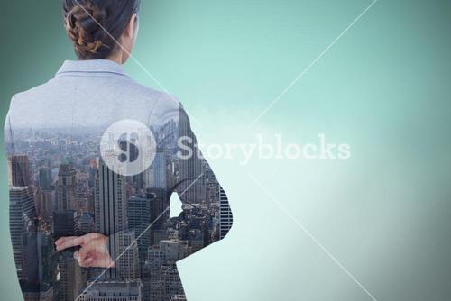 Composite image of businesswoman with fingers crossed behind her back over white background