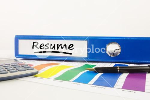 Composite image of word resume underlined
