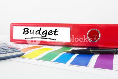 Composite image of word budget underlined