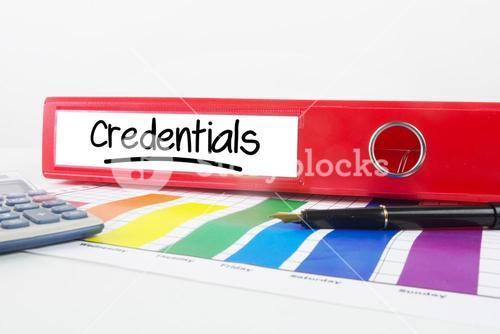 Composite image of word credentials underlined