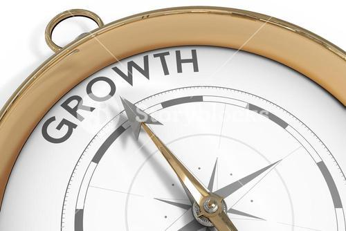 Compass pointing to growth