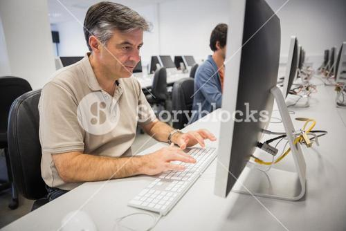 Professor using computer
