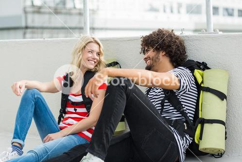 Young couple interacting on terrace