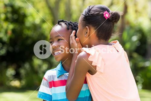 Young children are talking together