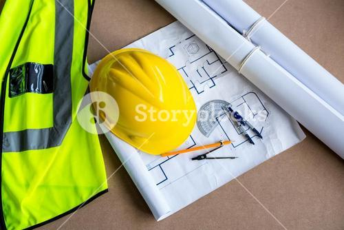 Equipment and plans used for carpentry