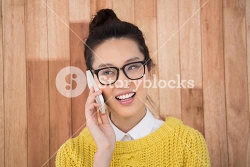 Hipster making a phone call