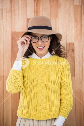 Hipster with hat and glasses