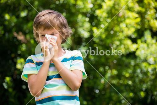 A little boy is blowing ones nose
