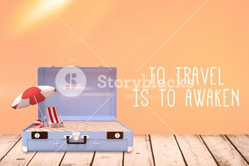 Composite image of travel slogan