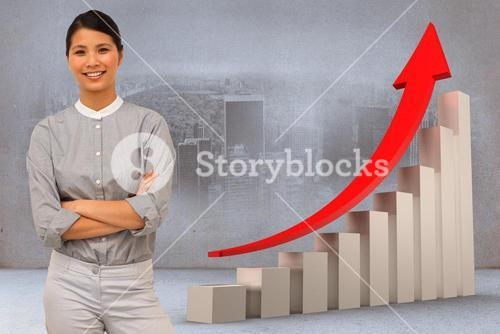 Composite image of selfassured businesswoman with folded arms