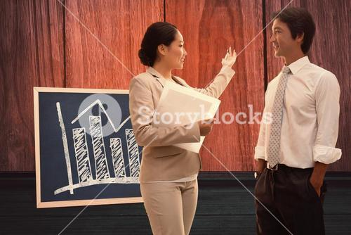 Composite image of estate agent speaking with potential buyer