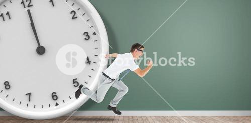 Composite image of geeky happy businessman running mid air