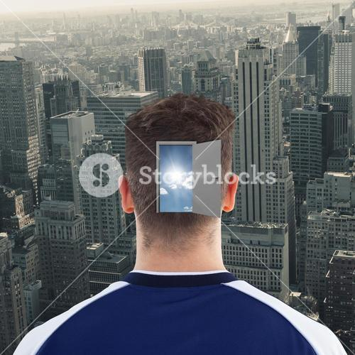 Composite image of rear view of sportsman head