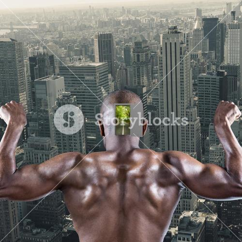 Composite image of rear view of muscular athlete posing