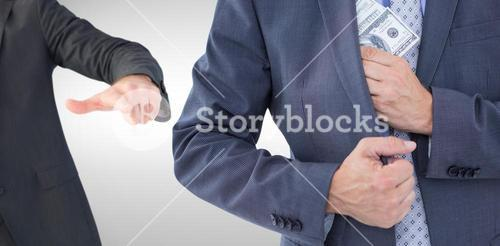 Composite image of businessman keeping money in jacket