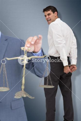 Composite image of male lawyer holding scale and gavel against white background