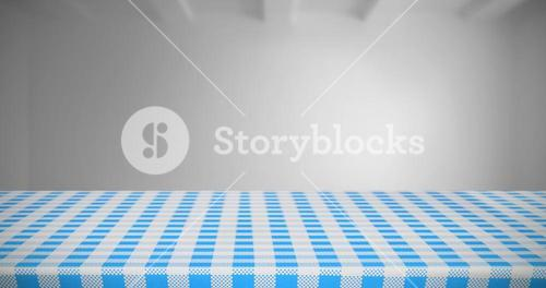 Composite image of part of blue and white tablecloth
