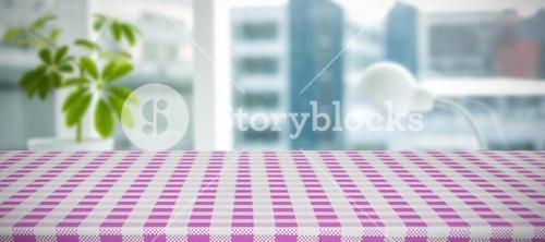 Composite image of pink and white tablecloth