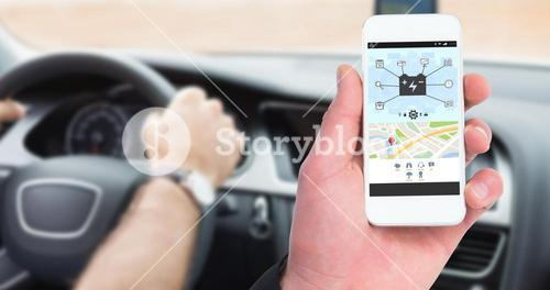 Composite image of hand of businessman holding smart phones