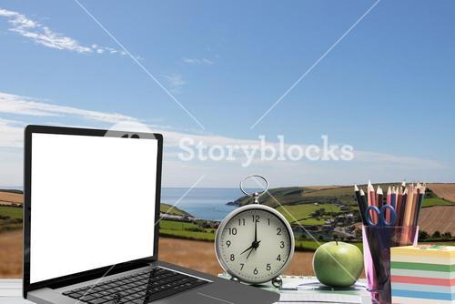 Composite image of open laptop