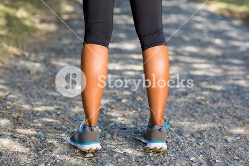 Close up of woman runners legs