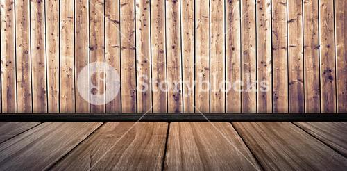 Composite image of white wall with parquet