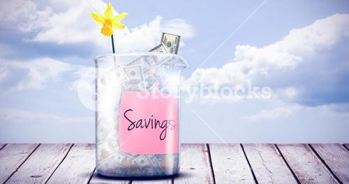 Composite image of savings message