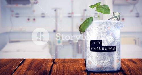 Composite image of life insurance message