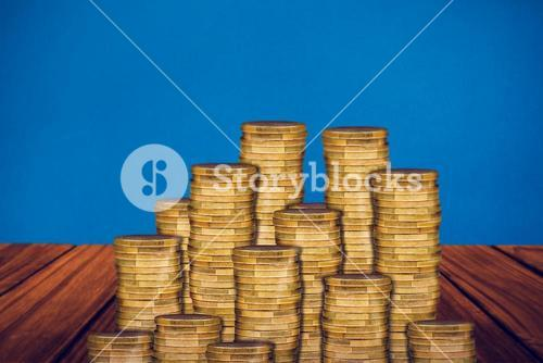 Composite image of gold coins