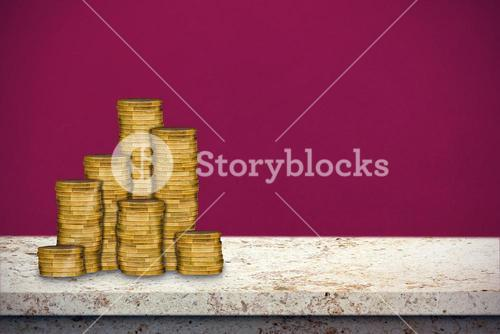Composite image of gold coins stacked